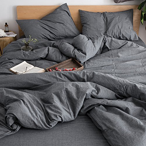 FOSSA Washed Cotton Duvet Cover Set Queen 3 Piece Bedding Sets Soft Wrinkled Solid Design (Queen, Dark Gray)