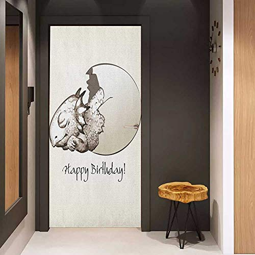 Onefzc Soliciting Sticker for Door Dinosaur Happy Birthday Theme Cute Newborn Dinosaur Sleeping Cracked Egg Fantasy Fun Mural Wallpaper W23.6 x H78.7 Eggshell Tan
