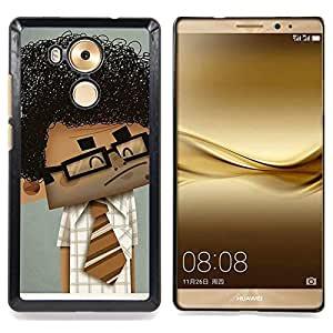 - Geek Scientist Boy Man Curly Black Hair Art - - Snap-On Rugged Hard Cover Case Funny HouseFOR Huawei Mate 8