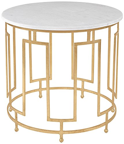 Safavieh American Homes Collection Caldwell Gold Leaf and White Marble Accent Table
