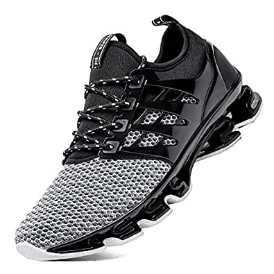 SKDOIUL Springblade Sport Running Shoes for Mens Mesh Breathable Trail Runners Fashion Sneakers Black Size: 6.5