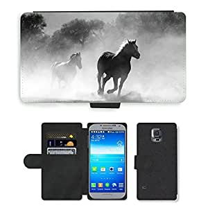 Hot Style Cell Phone Card Slot PU Leather Wallet Case // M00108212 Horse Herd Fog Nature Wild Equine // Samsung Galaxy S5 S V SV i9600 (Not Fits S5 ACTIVE)