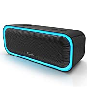 DOSS SoundBox Pro Portable Wireless Bluetooth Speaker with 20W Stereo Sound, Active Extra Bass, Wireless Stereo Paring, Multiple Colors Lights, Waterproof IPX5, 10 Hrs Battery Life -Black