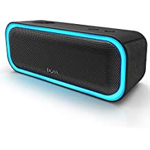 DOSS SoundBox Pro Portable Wireless Bluetooth Speaker V4.2 20W Stereo Sound, Active Extra Bass, Wireless Stereo Paring, Multiple Colors Lights, Waterproof IPX5, 10 Hrs Battery Life - Black