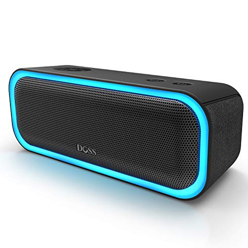 [Upgraded] DOSS SoundBox Pro Portable Wireless Bluetooth Speaker with 20W Stereo Sound, Active Extra Bass, Wireless Stereo Paring, Multiple Colors Lights, Waterproof IPX5, 10 Hrs Battery Life - Black