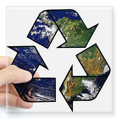 (CafePress New Recycle Earth Square Bumper Sticker Car Decal, 3