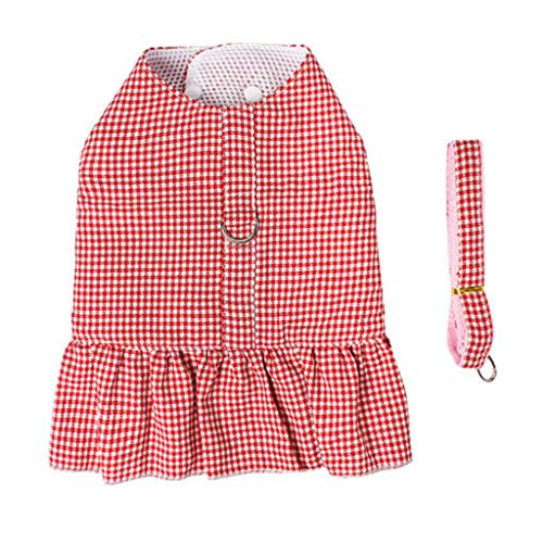 (ZHBWJSH Traction Rope Skirt, Traction Rope, Dog Out Rope, Cat Vest Type Anti-Breakaway Traction Rope, Red Plaid/Black Plaid (Color : Red Plaid, Size : M))