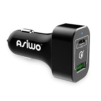 Asiwo Cargador de Coche USB Tipo C de Carga rápida, Cargador ...