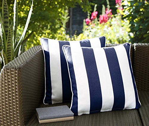 "51giq7eegIL - Decor Venue Water Resistant Indoor/Outdoor Patio Decorative Stripe Throw Pillow Cushion - Set of 2-18"" x 18"" - Navy"