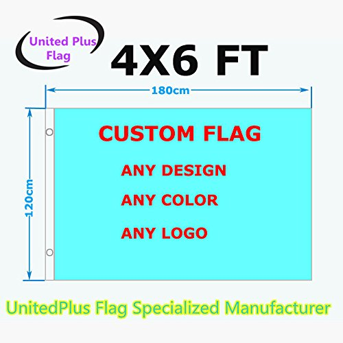 Unitedplus 4x6 Foot Custom flag-100D Polyester Polyester with Brass Grommets 4 X 6 Ft- Customize Flags and Banners for Sport Outdoor Banner Custom Flag- Advertising Banner (4X6 FT) -