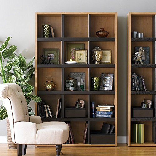 - Boraam 90560 Techny Collection Scully Hollow Core Bookcase, Maple/Espresso