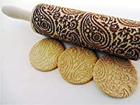PAISLEY Embossing Rolling Pin. PAISLEY pattern. Engraved rolling pin with paisley for embossed cookies.