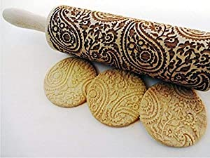 PAISLEY Embossing Rolling Pin. PAISLEY pattern. Engraved rolling pin with paisley for embossed cookies.