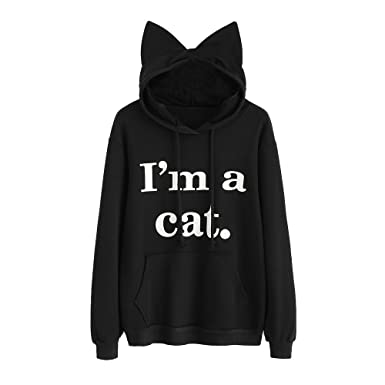 Lonuges Forme Femme Pull Capuche Chat À Sweat Sfit Hoodie Manches Ybfgy76v