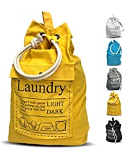 "LAUNDRY BAG Backpack Spacious 25""X22"" Drawstring Cotton Canvas with Strong Durable Shoulder Straps Washing Storage Organizer College Students Dorm Room"