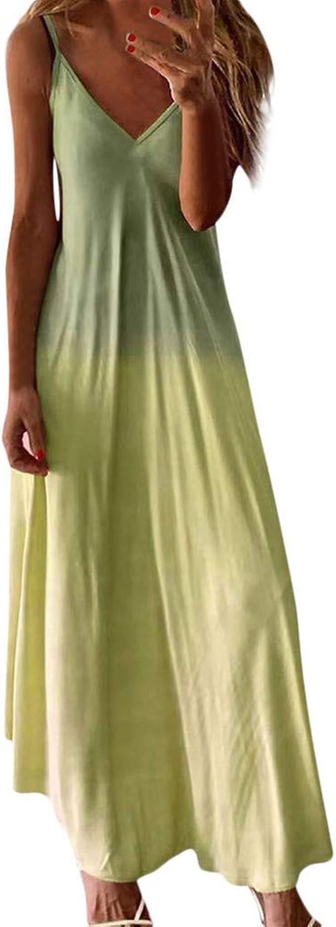 SHINEHUA Damen Sommerkleid Ärmellos Strandkleid Boho Maxikleid