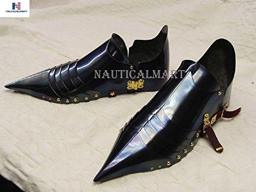 NAUTICALMART Black Knight Armor Shoes Sabaton for Reenactment Halloween Costume