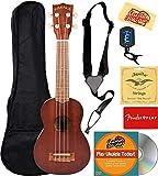 Kala MK-S Makala Soprano Ukulele Bundle with Gig Bag, Tuner, Strap, Aquila Strings, Online Lessons, Austin Bazaar Instructional DVD, and Polishing Cloth
