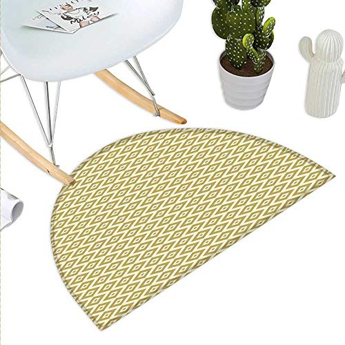 - Anniutwo Geometric Half Round Door mat Outdoor Oriental Squares and Rectangles Dots Abstract Soft Colored Middle Eastern Half Round Coir Door mat Pale Yellow Khaki