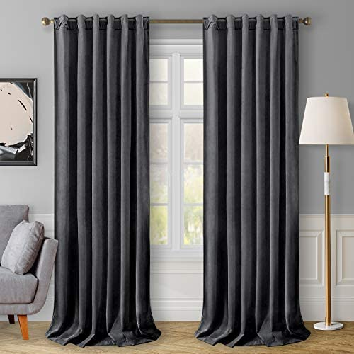HOMEIDEAS Velvet Curtains Grey Blackout Curtains 52x108 Inches, 2 Panels Soft and Thick Room Darkening Curtains/Drapes, Thermal Insulated Pocket Back Tab Window Curtains for Living Room