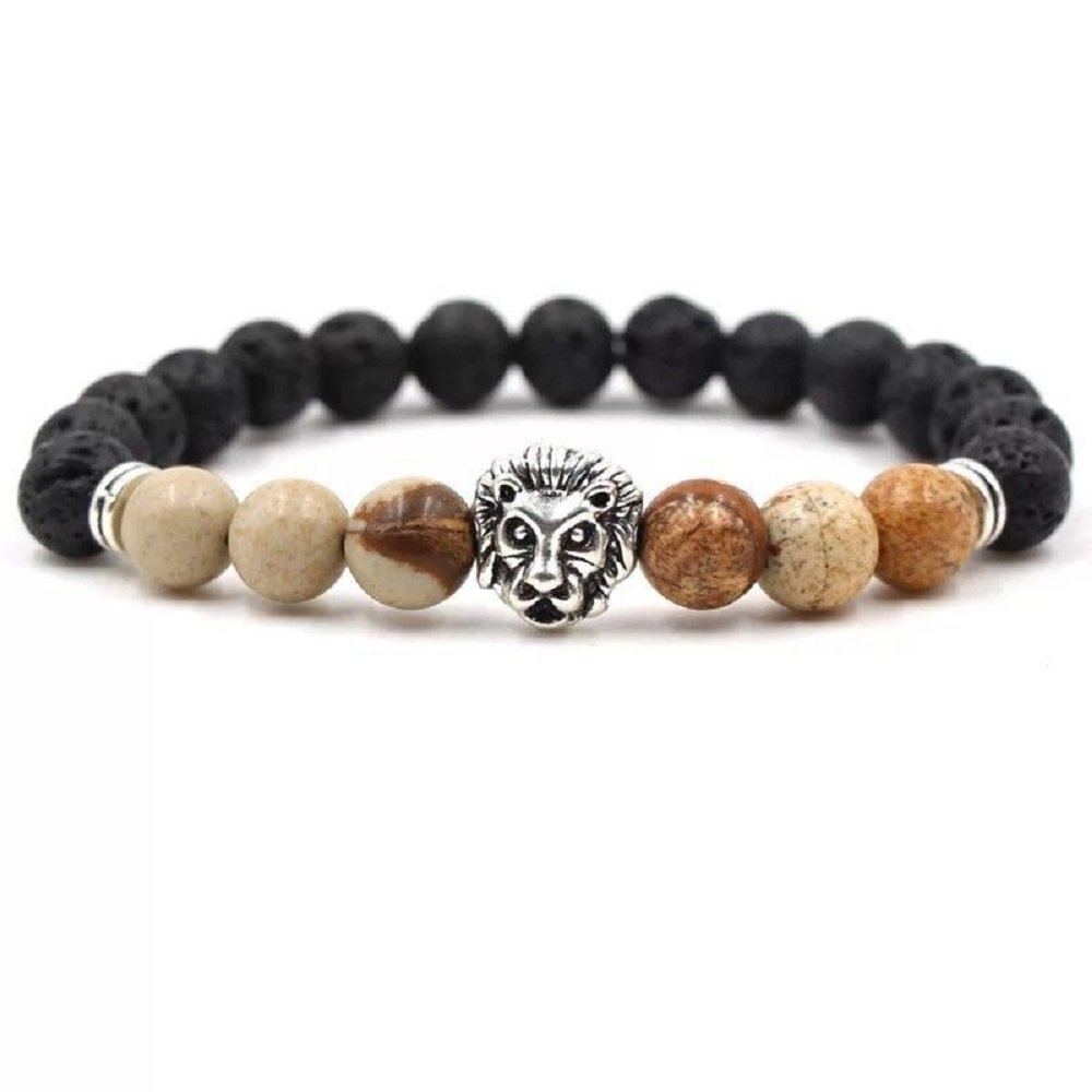ginsengjing Mens Women Lava Tiger Eye Stone Lion Buddha Beaded Elastic Bracelet Bangle Number 32