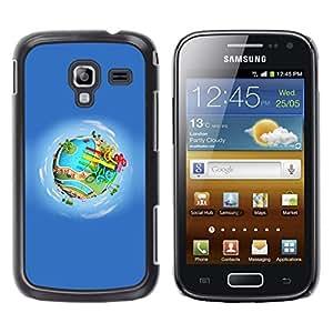 Tierra de la historieta del parque de atracciones de agua- Metal de aluminio y de plástico duro Caja del teléfono - Negro - Samsung Galaxy Ace 2
