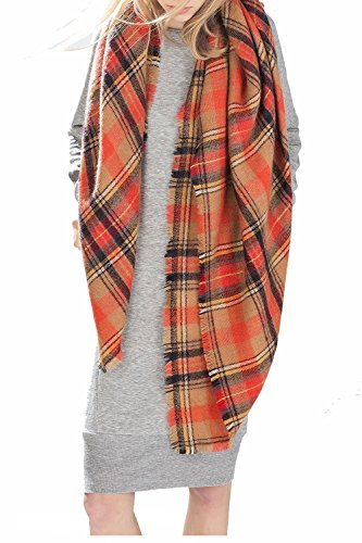 Zando Plaid Blanket Thick Winter Scarf Tartan Chunky Wrap Oversized Shawl Cape Orange (Retailer Curtain)
