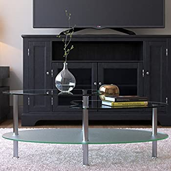Ryan Rove Becca 38 Inch Oval Two Tier Glass Coffee Table   Clear Top And  Frosted Bottom Glass