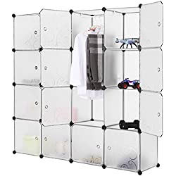 LANGRIA 16-Cube Modular Shelving Storage Organizing Closet with Translucent Curly Patterned Doors and Cube Design for Clothes, Shoes, Toys(White)