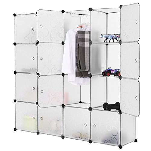 LANGRIA Modular Closet Organizer Plastic Cabinet, 16 Cube Wardrobe Cubby Shelving Storage Cubes Drawer Unit, DIY Modular Bookcase Closet System Cabinet with Doors for Clothes, Shoes, Toys, White (Bookcase White Modular)