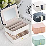 Naswei Jewelry Organizer Box Travel Portable Jewelry Storage Case Accessories Holder Pouch Bulit-in Mirror with Environmental Faux Leather for Earring,Lipstick,Necklace,Bracelet,Rings