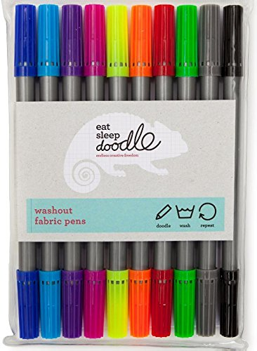 eatsleepdoodle Wash-out Fabric Double-Ended Markers (Pack of 10)