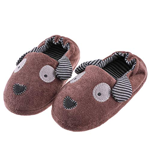 - FANZERO Toddler Boys Girls Doggy Slippers Soft Plush Warm Cartoon Puppy Non-Slip Winter House Shoes (5-6 M US Toddler, Brown)