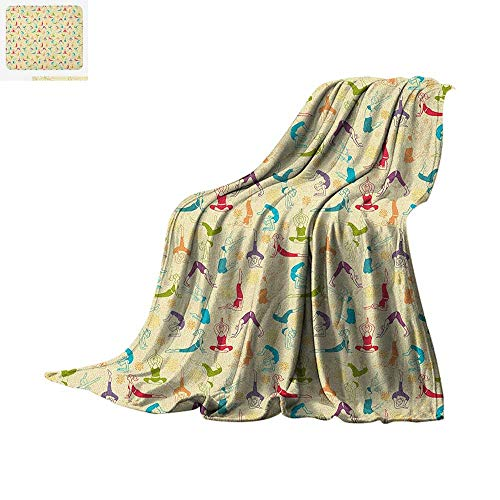(Yoga Digital Printing Blanket Workout Themed Fitness Girls Pattern Abstract Meditation Postures Arrangement Asian Oversized Travel Throw Cover Blanket 80