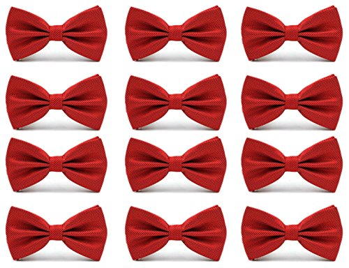 12pcs Men's Pre-tied Adjustable Formal Bow Tie Tuxedo Solid Bowtie by Avant Men (12 pack-RED) (Bow Pretied)