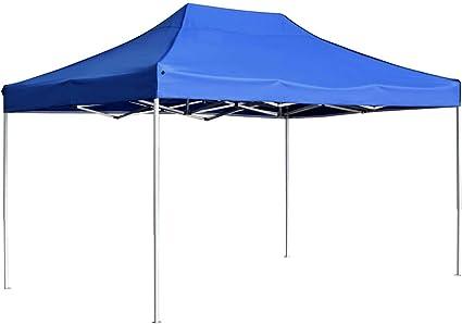 vidaXL Carpa Plegable Profesional Aluminio Cenador Pagoda Jardín Pérgola Fiestas Celebraciones Salones Estructuras Recintos Parasoles 4,5x3 m Azul
