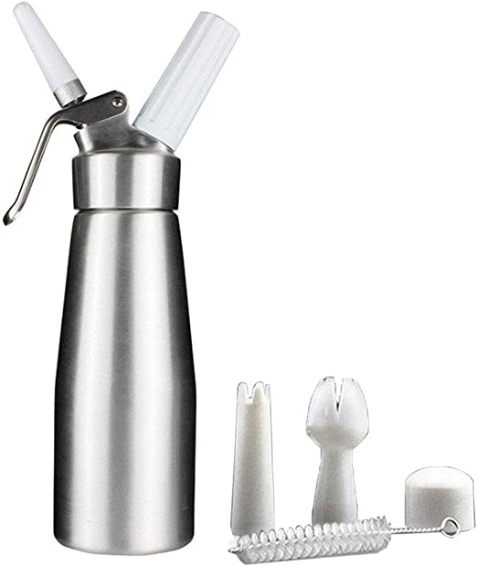use 8 Gram N2O Cream Chargers,1 Pint Not Included 500ml Professional Cream Whipper Maker,Aluminum Whipped Cream Dispenser /& 2 Charger Holders with 3 Decorating Nnozzles leak proof