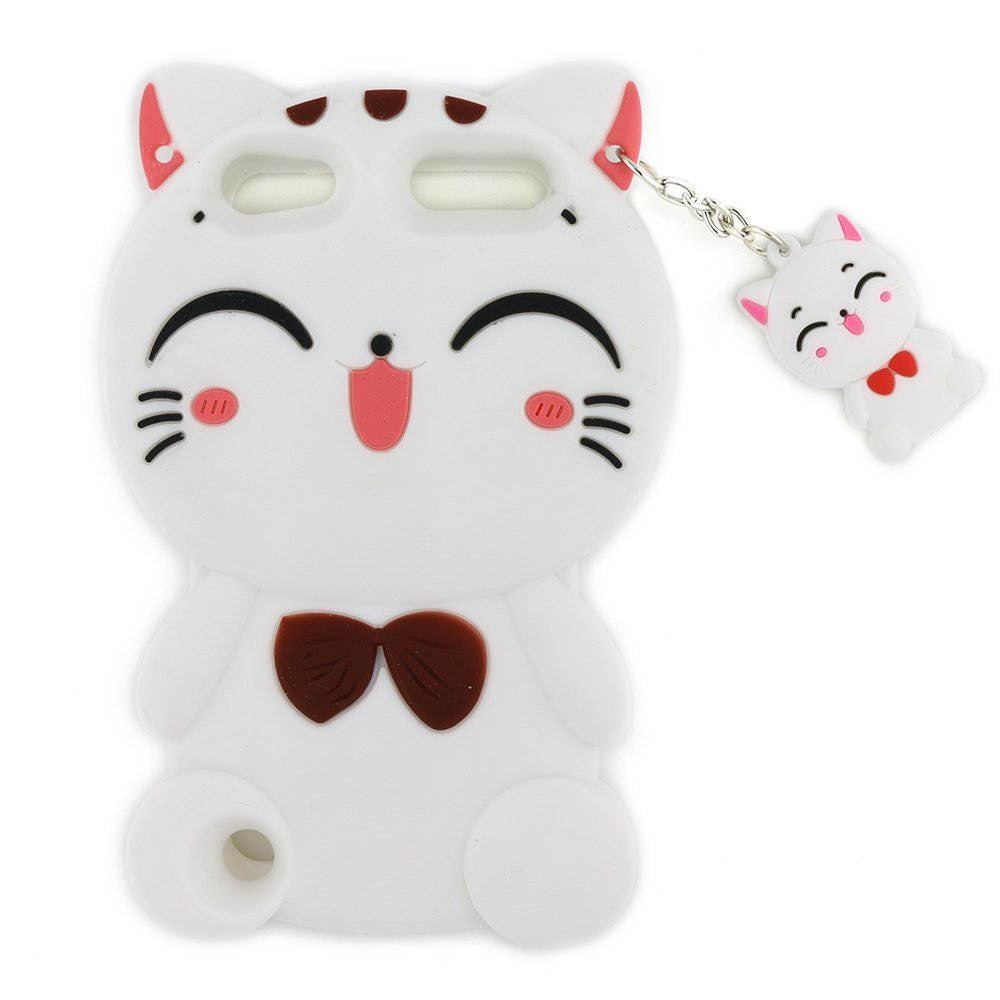 Case for ipod touch 5/6,3D Lovely Cartoon Vivid Lucky Fortune Cat Kitty with Cute Bow Tie Soft Silicone Rubber Phone Case Cover for Apple ipod touch 5/Touch 6(White)