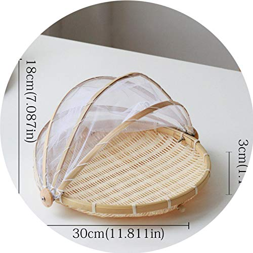 Storage Basket Handmade Bamboo Woven Bug Proof Wicker Basket Dustproof Picnic Fruit Tray Food Bread Dishes Cover,Round30Cm