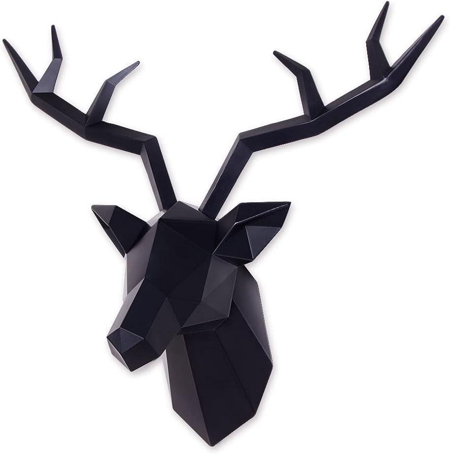 Deer Head Wall Decor Geometrical Black Deer Antlers Wall Sculpture Faux Taxidermy Resin Wall Animal Head 19x7x17 Inches