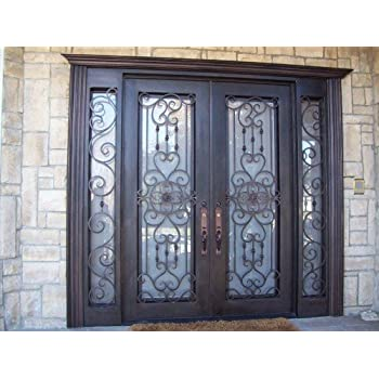 62 X 81 Custom Wrought Iron Entry Doors With 12 Sidelights And