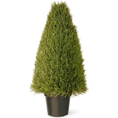 National Tree 36 Inch Upright Juniper Tree in Green Round Plastic Pot (LCY4-36) (Artificial Outdoor Xmas Trees)