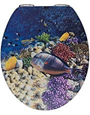 WENKO Wc-bril Fish, toiletbril met softclosemechanisme en 3D-motief, wc-deksel voor zachte dekselsluiting met roestvrije hygiënische bevestiging, van MDF, 38 x 44,5 cm, meerkleurig