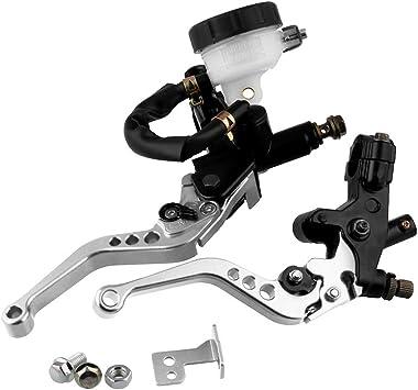 Imagen deKKmoon 7/8 '' 22mm Embrague Hidráulico Moto,Palancas de Embrague de Freno de Depósito Cilindro Maestro Universal Ajustable