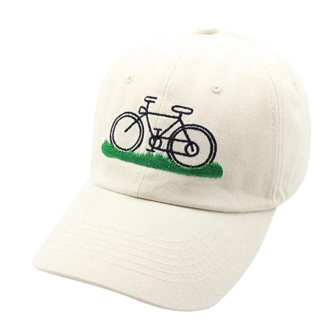 Hanomes Gorra de Beisbol,Dibujos Animados Bordados Bicicleta Gorra de béisbol Hierba Verde Pareja Sombrero Curvo Hombres y Mujeres Gorra Gorra de Beisbol ...