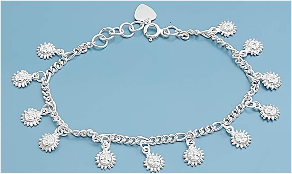 Glitzs Jewels 925 Sterling Silver Necklace Italian Chain, Bead 100 Jewelry Gift for Women and Girls