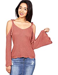 Womens Cold Shoulder Sweater w Bell Sleeves