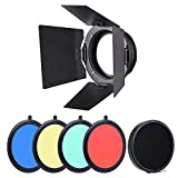 Walmeck 96mm Universal Mount Metal Bardoor Barn Door Barndoor with Honeycomb Grid 4pcs Color Gel Filters for Neewer Godox 180W 250W 300W Andoer MD-250 MD-300 Studio Strobe Flash Light Monolight