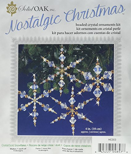 Wire Snowflake Forms (Solid Oak Kit Beaded Ornament Snowflakes Crystal/Gold)