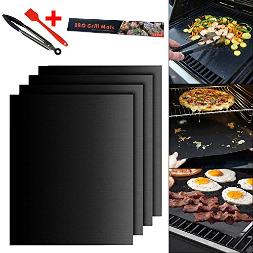 Zlimio Grill Mat,Easy to Clean and Reusable, Non-stick Heat Resistant BBQ Grill Sheet Mat Set with Brush Clamp,Meet the Standard of FDA